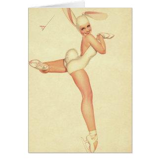Vintage Hielo-Patinador modelo en traje del conejo Tarjeta De Felicitación