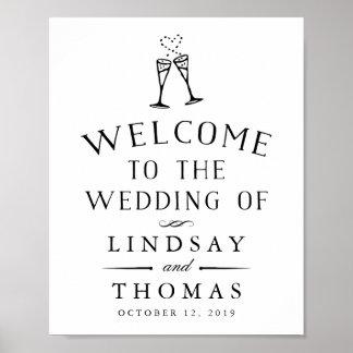 Vintage ilustrado casando el signo positivo póster