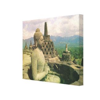 Vintage Indonesia Java templo de Borobodur Buda Lienzo Envuelto Para Galerias