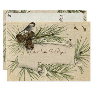 Vintage, invitación del boda del invierno