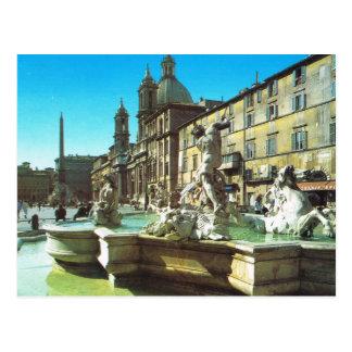 Vintage Italia, Roma, plaza Navonna Postal