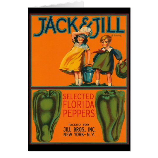 Vintage Jack del KRW y etiqueta del cajón de las Tarjeta De Felicitación
