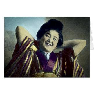 Vintage japonés de risa del chica tarjeta de felicitación