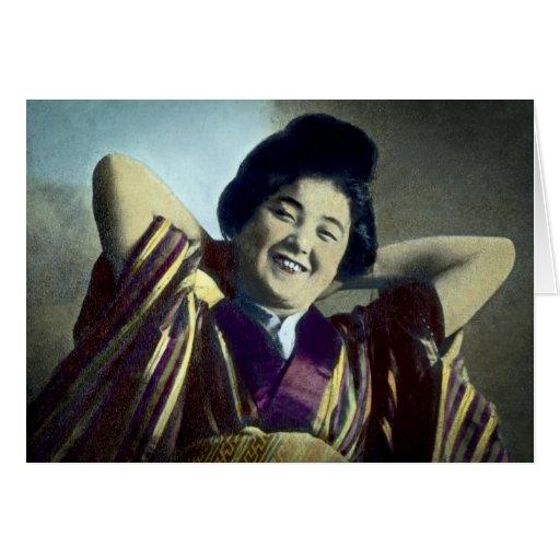 Vintage japonés de risa del chica felicitaciones
