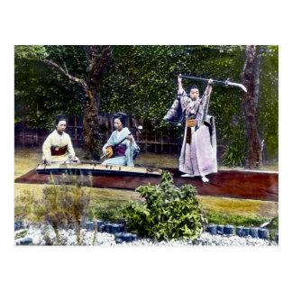 Vintage japonés del bailarín y de los músicos postal