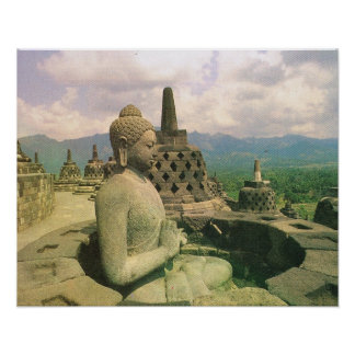 Vintage Java, templo de Borobodur, figura de Buda Impresiones
