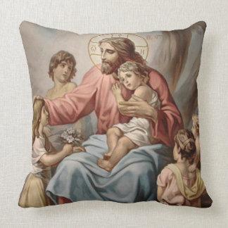 Vintage Jesús con los chicas de los muchachos de Cojín Decorativo