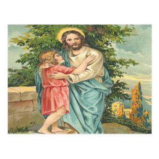 Vintage Jesús que sostiene Little Boy Postal