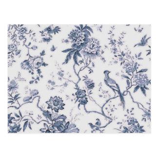 Vintage lindo azul y pájaro blanco floral postal