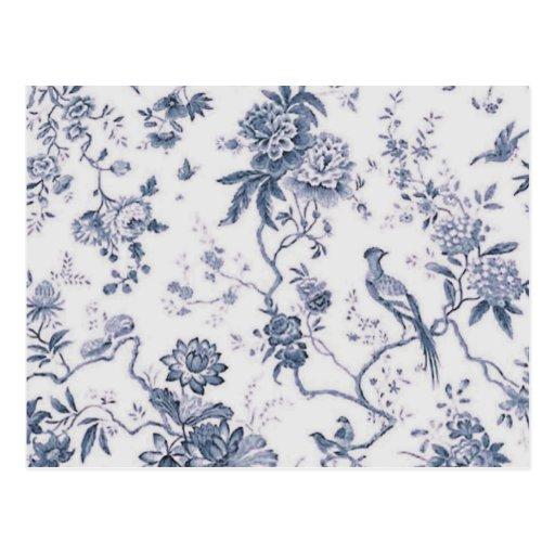 Vintage lindo azul y pájaro blanco floral postales