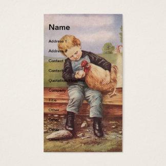 Vintage Little Boy y pollo Tarjeta De Visita