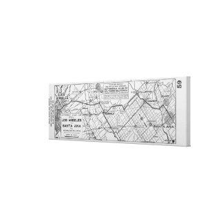 Vintage Los Ángeles al mapa de camino de Santa Ana Lienzo Envuelto Para Galerias