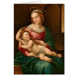 Vintage Madonna y tarjeta de Navidad religiosa del