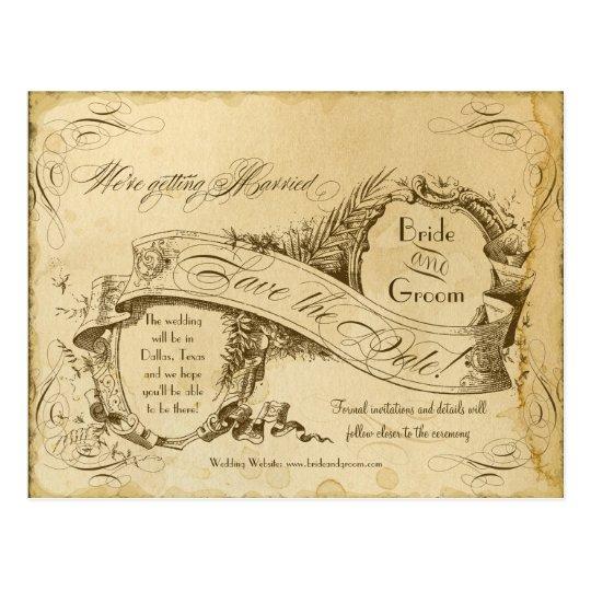 Vintage manchado té que casa 1 - ahorre las fechas postal