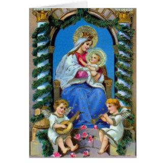 Vintage Maria e imagen de Jesús - navidad Tarjeta De Felicitación