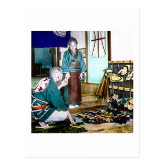 Vintage mercantil Japón viejo del zapato del Geta Postal