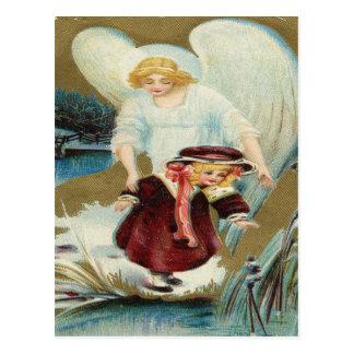 Vintage, niña de protección del ángel postal