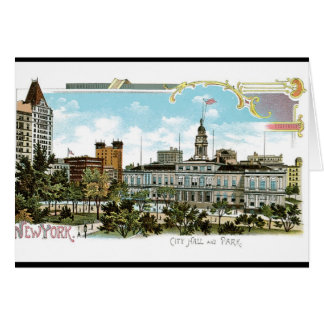 Vintage Nueva York, ayuntamiento y parque Tarjeta De Felicitación