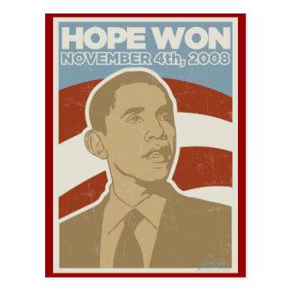 "Vintage Obama ganado ""esperanza"" Postal"