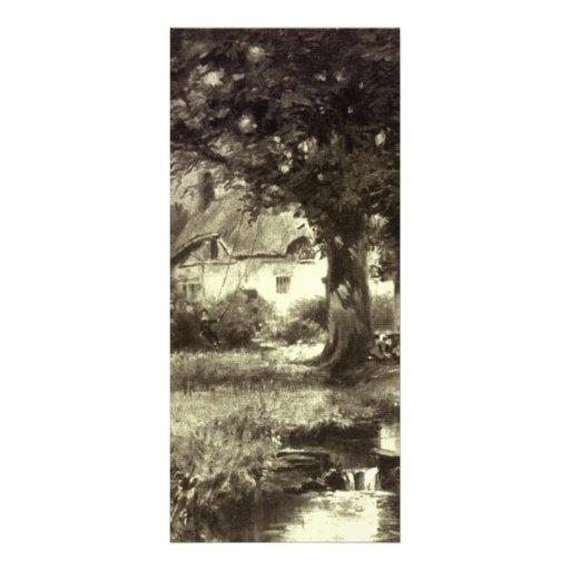 Vintage - paisaje hermoso - cabaña y corriente tarjetas publicitarias