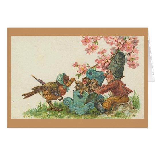 Vintage - pájaro y familia de la madre tarjeta de felicitación