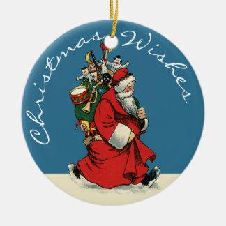 Vintage Papá Noel con el saco de juguetes Ornato