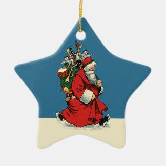 Vintage Papá Noel con el saco de juguetes Adorno De Cerámica En Forma De Estrella