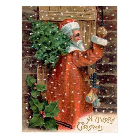 Vintage Papá Noel en el traje anaranjado - navidad Postal