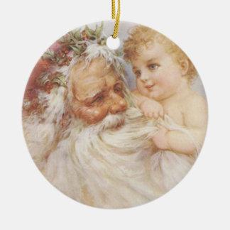 Vintage Papá Noel por el ornamento del pliegue de Adorno Navideño Redondo De Cerámica