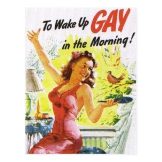 """Vintage """"para despertar al gay """" postal"""