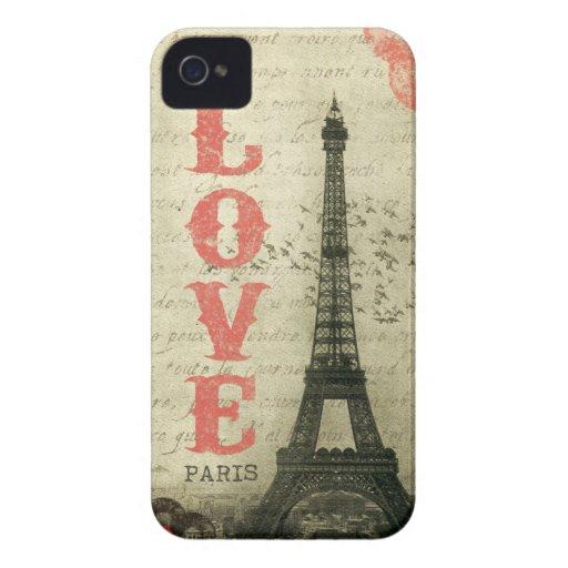 Vintage París iPhone 4 Case-Mate Cobertura