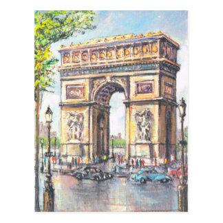 Vintage París, París Arc de Triumphe, Postal