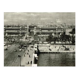 Vintage París, París, la plaza de la Concordia Postal