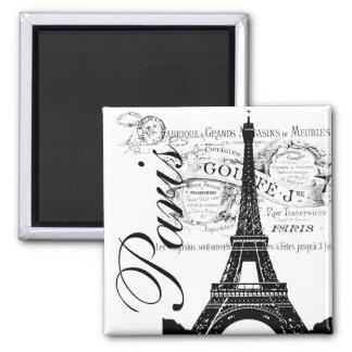 Vintage París y etiqueta de la torre Eiffel Imán Cuadrado