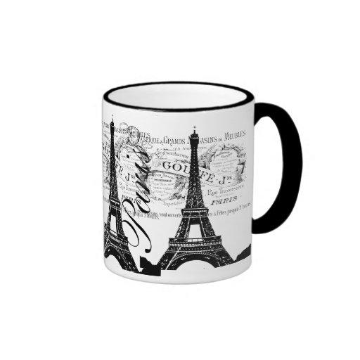 Vintage París y etiqueta de la torre Eiffel Taza