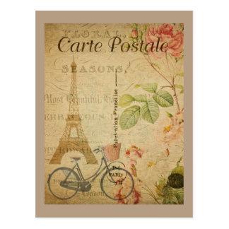 Vintage parisiense con la torre Eiffel Postal