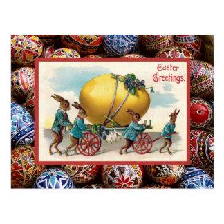 Vintage Pascua, conejos que tiran del carro Tarjetas Postales