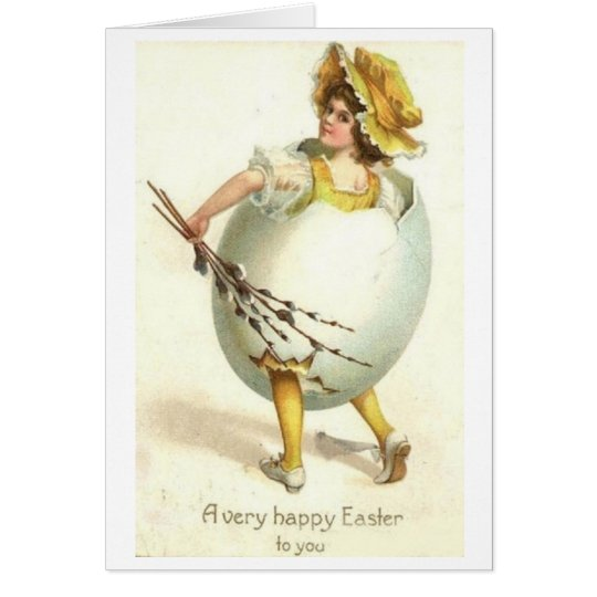 ¡Vintage Pascua feliz!  Tarjeta de pascua del