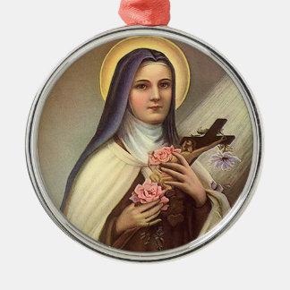 Vintage Pascua religiosa, rosas cruzados de Cristo Adorno Redondo Plateado
