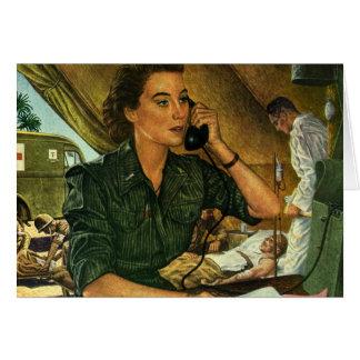 Vintage patriótico, enfermera médica en el tarjeta de felicitación
