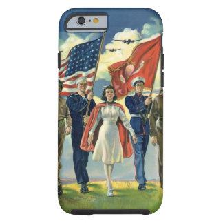 Vintage patriótico, héroes orgullosos del personal funda de iPhone 6 tough