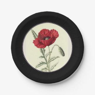 Vintage-Poppy-Art_Gem-Inner-Circle--Elegante-Negro Plato De Papel