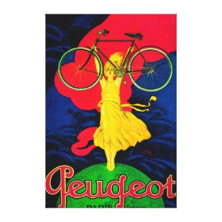Vintage PosterEurope de la bicicleta de Peugeot Impresiones En Lienzo Estiradas