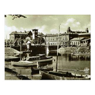 Vintage puerto de Suecia, Malmo! Tarjeta Postal