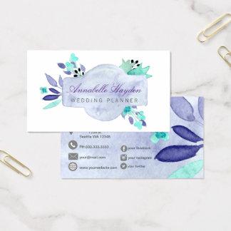 Vintage púrpura floral tarjeta de visita