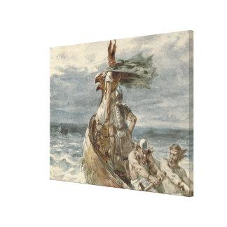 Vintage que ataca la pintura de Vikingos (1873) Lienzo