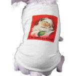 Vintage que guiña a Papá Noel alegre Camiseta De Perro