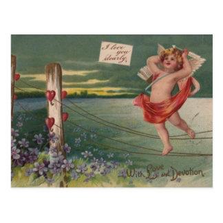 Vintage - querube de las tarjetas del día de San Postal