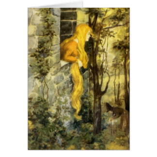 Vintage Rapunzel. Princesa con el pelo rubio largo Tarjetas