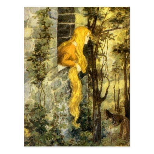 Vintage Rapunzel. Princesa con el pelo rubio largo Tarjeta Postal